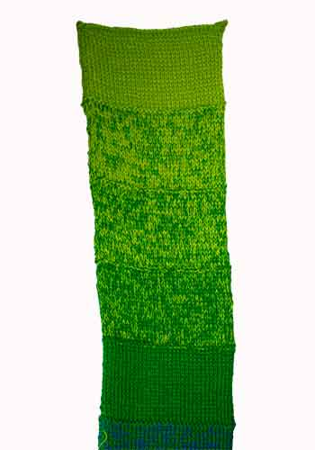 Knitted Sample, 4 strands 10/2 cotton, 10 Green to 10 Green Yellow