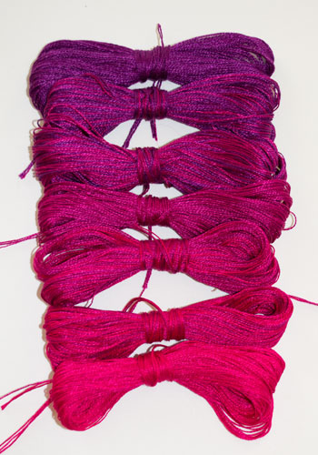 7 Weft Colors for Purple Chameleon Scarf
