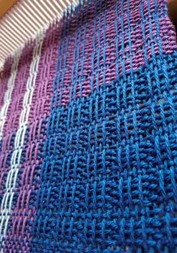 Greenline Scarf on the loom--Detail